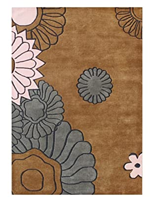 Znz Rugs Gallery Handmade Tufted New Zealand Blend Wool Rug (Brown Sugar/Pink/Charcoal)