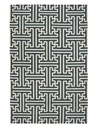 Surya Geometric Grid Rug, Peacock Green, 5' x 8'