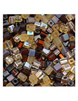 Beadaholique Miyuki 10gm Glass Cube Wheatberry Color Mix Beads, 4mm, Browns Ambers