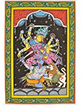 Exotic India Eight-armed Mahishasuramardini Goddess Durga - Paata Painting on Patti - Folk Art from