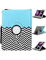 Galaxy Tab 4 10.1 case, E LV Galaxy Tab 4 10.1 Case Cover - Full Body Protection (Rotating Stand) PU Leather Smart Case Cover Shell for Samsung Galaxy Tab 4 10.1 inch (2014) with 1 Stylus [ONLY COMPATIABLE WITH SAMSUNG GALAXY TAB 4 10.1 INCH (2014) - ZIG ZAG