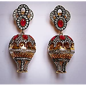 Gioielleria Fashion Swaroski studded in silver with red kundan work Earring