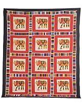 Vintage Art India Cotton Double Bedspread - Patchwork, Multi-Colour