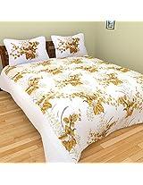 Cot Prints Rosette 100% Cotton Bed Sheet Set - King Size (100 x 108 Inches)(3 pieces)