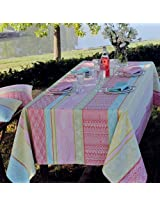 GARNIER THIEBAUT -French MILLE TOTEM Marshallow Round Coated Cotton Tablecloth- Diam 69