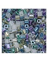 Beadaholique Miyuki 10gm Serenity Glass Cube Color Mix Beads, 4mm, Green/Purple
