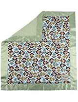 "My Blankee Monkey Zoo Minky Midnight w/ Minky Dot Sage Green Baby Blanket, 30"" x 35"""