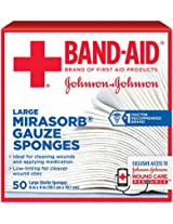 Band-Aid Large Mirasorb Gauze Sponges, 50 Count