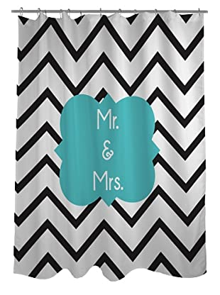 One Bella Casa Mr. & Mrs. Chevron Shower Curtain
