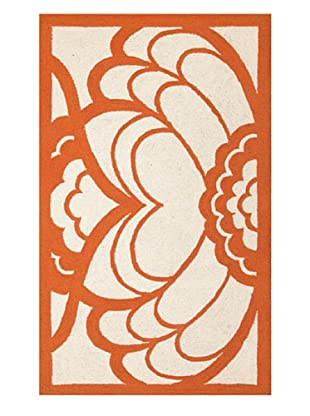 Trina Turk Rugs Deco Floral Hook Rug (Orange)