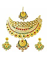 Surat Diamonds Ethnic Choker Style Gold Plated Designer Coloured Stone Fashion Jewellery Set for Wedding for Women (PS322)