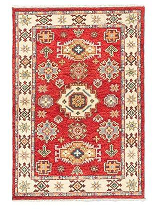 Hand-Knotted Royal Kazak Rug, Cream/Red, 4' 1
