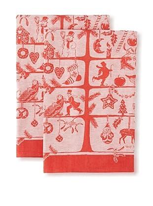 Garnier-Thiebaut Set of 2 Sapin d'Alsace Kitchen Towels, Rouge