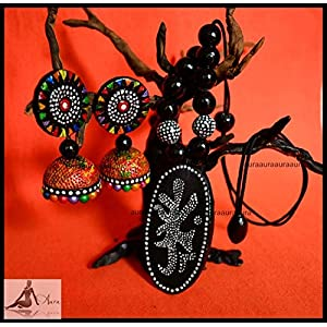 AUrA-EArTH Double sided Digambara Terracotta set jewellery Set