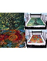 Alluring Contemporary Mandala Bedsheet Hippie Tapestry to Beautify your bedroom in Twin or Single bedsheet Size.