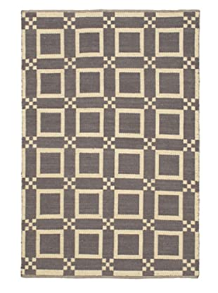Handwoven Natural Plush Modern Wool Kilim, Cream/Dark Grey, 5' 1