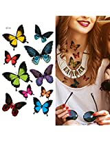 Supperb Temporary Tattoos 10 Color Butterflies Tattoos