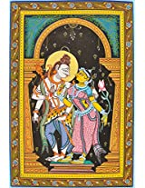 Exotic India Lord Shiva with Parvati - Paata Painting on Patti - Folk Art from the Temple Town of Pu