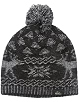 Woolrich Women's Acrylic Reindeer Pattern Black Beanie with Pom