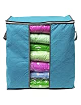 Foldable Bamboo Charcoal Nonwoven Quilt Package Fabric Sweater Clothes Blanket Storage Bag(Blue S)