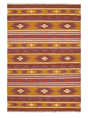 Hand Woven Kashkoli Wool Kilim, Brown/Dark Gold, 4' 7