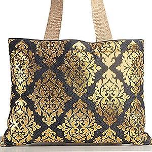Shopping World Denim Jute Flower Design Handbag