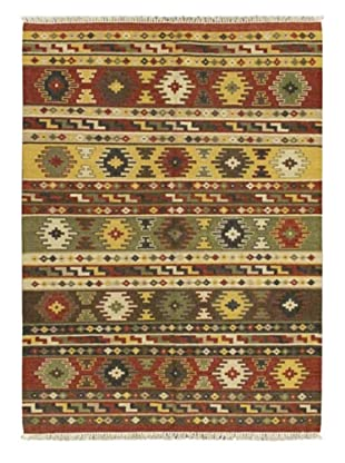 Hand Woven Izmir Wool Kilim, Dark Red, 5' 7