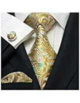 Landisun 191 Multi-Color Paisleys Mens Silk Tie Set: Tie+Hanky+Cufflinks