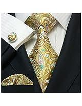 Landisun 191 Paisleys Mens Silk Tie Set: Tie+Hanky+Cufflinks Yellow, 3.75