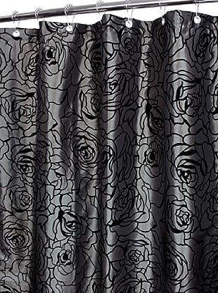 Park B. Smith Cabbage Rose Shower Curtain (Platinum)
