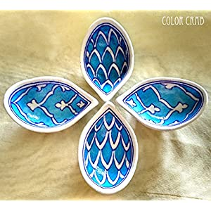 Color Crab - Blue Pottery Diya Set