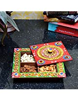 eCraftIndia Papier-Mache Dry Fruit Box (without Dry Fruits) (LxWxH - 8.25INx8.25INx2.25IN)