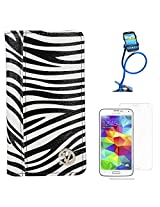 VanGoddy Mary Zebra Print Portfolio Self Stand Book Style Case Cover For Samsung Galaxy S5 G900 (White) + Long Flexible Stand + Matte Screen