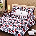 Handloomdaddy Cotton Design Designer Double Bedsheet With 2 Pillow Covers - Jesper Dots