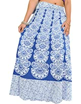 Exotic India Wrap-Around Long Skirt with Block-Print in Pastel Colors - Color Princess BlueGarment Size Free Size