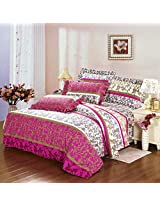 4pcs Polyester Fiber Sunny Mood Reactive Print Bedding Set With Duvet Cover