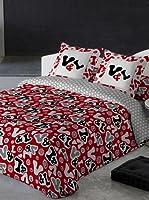 V&L Sueños Juego de Funda Nórdica Logo Colors (Rojo / Blanco / Negro)