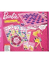 Barbie doll 5 in 1 Game Case Checkers Tic Tac Toe Bingo Go Fish Old Maid (with Pink Carrying Case)