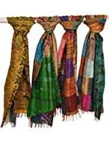 Exotic India Lot of Three Printed Kantha Scarves from Kolkata - multicolor