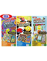 Ideal Magnetic-Go Snakes n Ladders, Checkers & Hangman Magnetic Travel Games Gift Set Bundle - 3 Pac