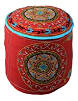 Designer Ottoman Red Cotton Floral Embroidered Pouf Cover By Rajrang