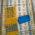Yellow Cotton Dress Material With Dupatta