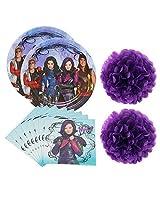 Disney Descendants Party Supplies Pack For 16 Guests Plates And Napkins Plus Pom Pom Decorations