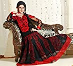 Black and Red Colour Faux Georgette Anarkali Salwar Kameez