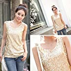 Golden Cotton Blend And Sequin Sleeveless Top