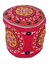 Handmade Round Magenta Ottoman Cotton Floral Embroidered Pouf Cover Home Decor By Rajrang