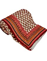 Little India Traditional Sanganeri Hand Block Print Cotton Double Bed Quilt - White  (DLI3DRZ304)