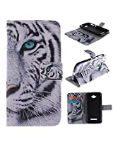 C7 Case Alcatel One Touch Pop C7 Kickstand Case,Tribe-Tiger Stylish Tribe Fierce Tiger Design Premium Leather Magnet Slim Flip Kickstand Case Cover for Alcatel One Touch Pop C7
