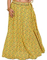 Exotic India Drawstring Long Ghagra Skirt with Printed Leaves and Piping - Color Aurora YellowGarment Size Free Size