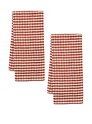 Couleur Nature Set of 2 Gingham Check Tea Towels (Red)